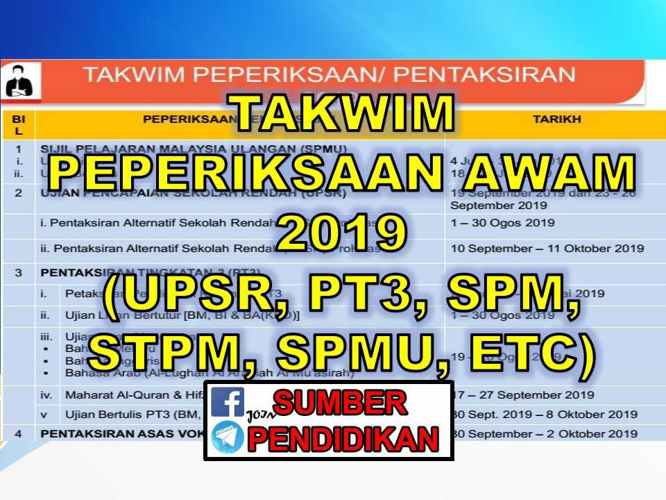 Takwim Peperiksaan 2019 Upsr Pt3 Spm Stpm Sumber Pendidikan